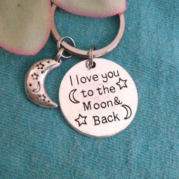 I Love You To The Moon and Back Key Chain Couple Themed KeyChain Stamped Charm Key Ring Gift for Him or Her