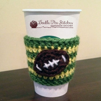 Team spirit football coffee cup cozy from doublethestitches on