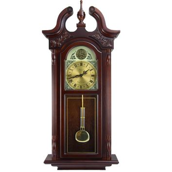 """Bedford Clock Collection 38""""Grand Antique Colonial Chiming Wall Clock with Roman Numerals in a Cherry Oak Finish - Reconditioned"""