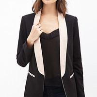 LOVE 21 Colorblocked Shawl Collar Blazer Black/Nude