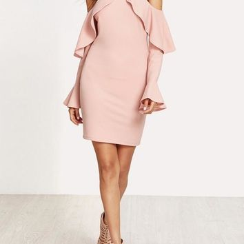 Streetstyle  Casual Pink Cut Out Ruffle Zipper Long Sleeve Homecoming Party Mini Dress