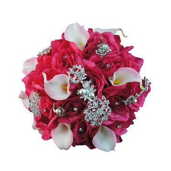 "10"" Brooch Bouquet-Hot Pink"