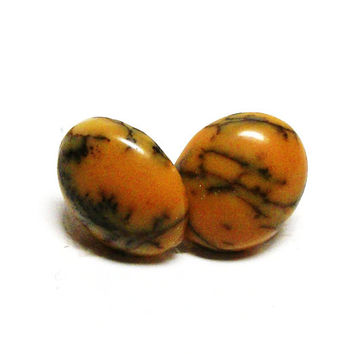 """Agate, dendritic agate, cabochon, matching cabs, orange black,  jewelry making, jewelry supplies,""""Squiggles"""""""