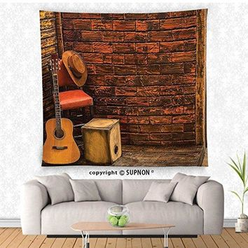 VROSELV custom tapestry Music Decor Tapestry Music Instruments On Wooden Stage In Pub Beverage Cafe Counter Bar Drum Wall Hanging for Bedroom Living Room Dorm Redwood Light and Sand Brown