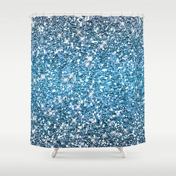 Night Blue Glitters Sparkles Texture Shower Curtain by Tees2go | Society6