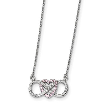 Sterling Silver Rhodium-plated w/CZ Heart w/Infinity Symbol Necklace QG4396