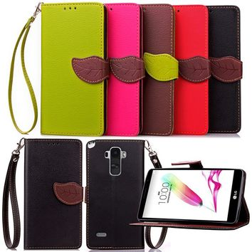 For LG G3 Stylus Luxury Leather Cover Flip Wallet Phone Case For LG G4 Stylus With Leaves Buckle And Lanyard Mobile Phone Shell