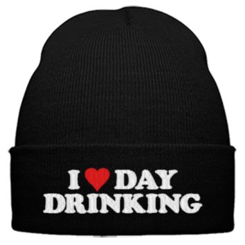 i heart day drinking embroidery hat