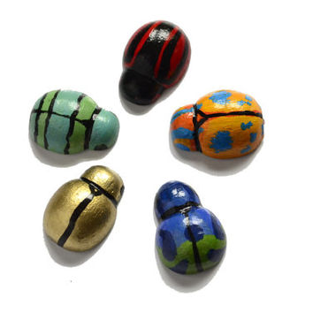 Five tiny tropical beetle magnets, colourful hand painted bug fridge magnets, 5 little wooden insects