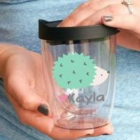 Personalized Hedgehog Mug - Hedgehog Lover Travel Wine Tumbler
