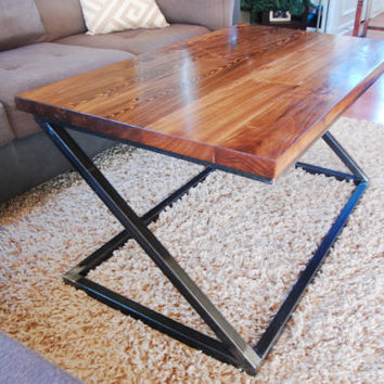 Handcrafted Steel & Wood Coffee Table