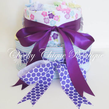 NEW Diaper Cake, Two Tier, Diaper Cake, Baby Cake, Shower Gift for Girl, Blankets, Sock Roses, Centerpiece