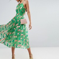 ASOS TALL SALON Floral Embroidered Backless Pinny Midi Prom Dress at asos.com
