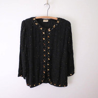 Vintage Sequin Jacket Black and Gold Classic Style Evening Jacket by SND L