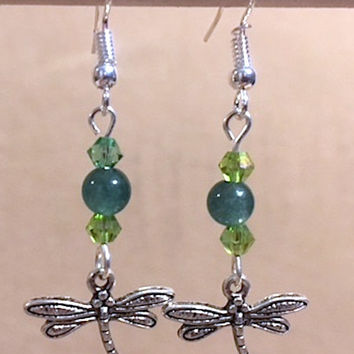 Dragonfly Charm Dangle Earrings, Teal Glass Bead & Peridot Crystal Silver Plated Pewter Dragonfly Charm Earrings, Handmade Fashion Jewelry