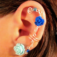 "Non Pierced Ear Cuff  ""Roses are Dainty"" Cartilage Conch Cuff Silver tone and Lucite Roses Wedding Prom Quinceanera"