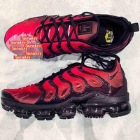Nike Air Vapormax Plus Triple White Running Sneakers Sport Shoes B-XYXY-FTQ Black wave+Red