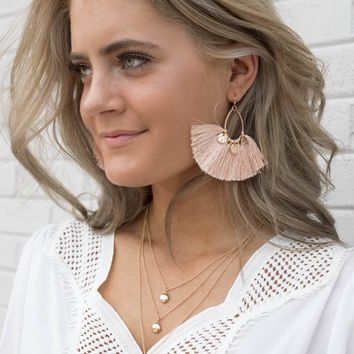 Peach Tassel Coin Earrings