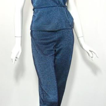 vintage BLUE Lurex JD Rockabilly Cocktail Pants and Top Set 1960s