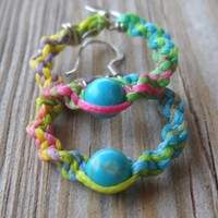 Handmade Multicolor Wax String Knitted Turquoise Silver Hoops