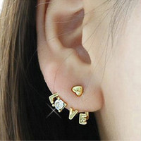 Free Korea Style Gold Plated Clear Rhinestone Heart Love Letter Ear Stud Earring