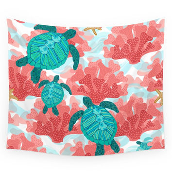 Society6 Sea Turtles In The Coral Ocean Beach Mari Wall Tapestry