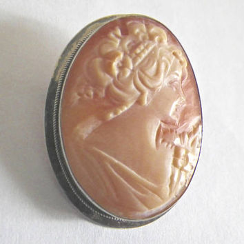 Vintage Italian Cameo Brooch Pin in Sterling Silver Bezel Setting, Classic Cameo Brooch from Italy