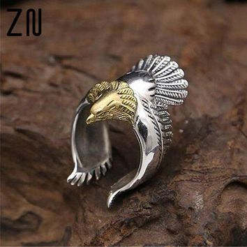 ac spbest Unique Men and Women Eagle Jewelry Silver Material Biker Eagle Ring Unisex High Quality Silver Animal Jewerly