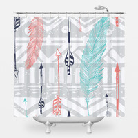 Feathers and Arrows Print Shower Curtain