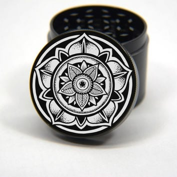 Laser Engraved Herb Grinder - Lotus Mandala Art Design 4 Piece Grinder #131