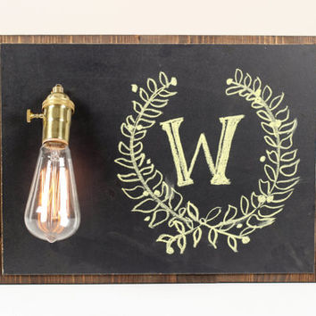 Rustic Chalkboard Lamp- Chalkboard Decor, Wall Lamp, Wood Chalkboard Lamp, Lighting, Exposed Edison Bulb