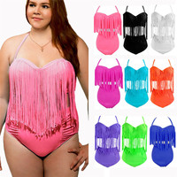 Plus Size 3XL Bikini Long-line Tassel Fringe Swimwear Female High Waist Swimsuit Wear Push up Bikini Bathing Suits