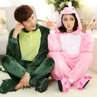 Cheap Aimal Couple rilakkuma pajamas Flannel Lovers Couples Unisex Animal Pajamas One Piece Cartoon Sleepwear Kugurumi