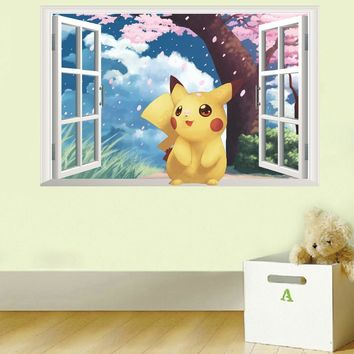 Pikachu window Wall Stickers for Kids Rooms Home Decorations  Wall Decal Amination Poster Wall Art WallpaperKawaii Pokemon go  AT_89_9