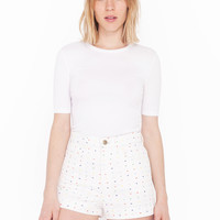Printed High-Waist Jean Cuff Short | American Apparel