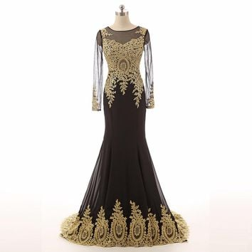 Mermaid Applique Chiffon Long sleeve Sheer back Court Train Formal Gown