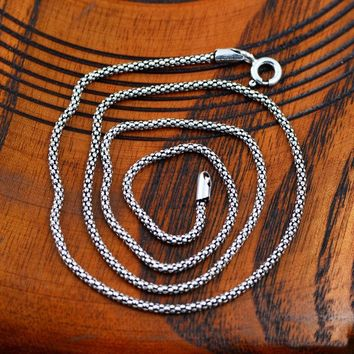 100% 925 Sterling Silver Men Necklace Thick Chain Thai Silver  Necklaces