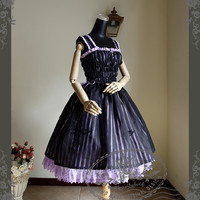 Silence Lonely, Elegant Gothic Lolita Shirring Bodice Double-Layer Dress/OP*2colors Instant Shipping