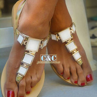 Leather women Gold Sandal shoes with white squares