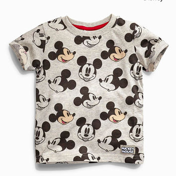 2017 summer toddler kids Tees cartoon cotton baby boys girls T-shirts short-sleeved casual Mickey Rainbow children clothing Tops