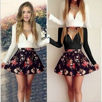 Feelingirl Women's Sexy Casual Cocktail Party Autumn Long Sleeve Short Slim Dress White Patchwork Bodycon Girl Dresses Vestidos [11617430415]