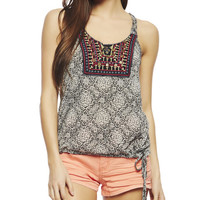 Embroidered Trim Burnout Tank | Wet Seal