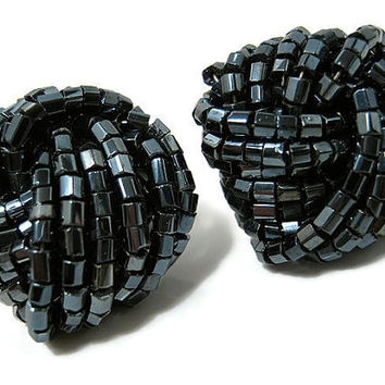 Vintage Earrings Metallic Black Seed Beaded Twist Retro Womens