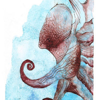 "Coconut Octopus  - Giclee Print 11/50 of 4""x6"" Watercolor Octopus Painting"