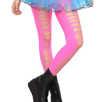 Neon Hot Pink Slashed Tights | Hot Topic