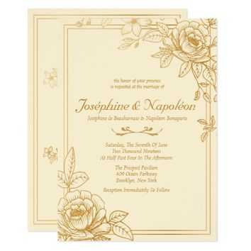 Elegant Gold Floral Wedding Invitations