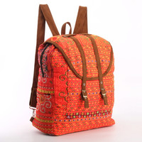 Large Exotic Dazzling Orange Backpack Vintage Traditional Hand Stitched Textile