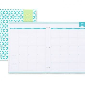 Day Designer Blue Geo Stapled Monthly 8.5 x 11 Planner July 2015 - June 2016