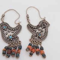 Vintage Afghani Uzbek Style Silver Bird Earrings with turquoise and coral