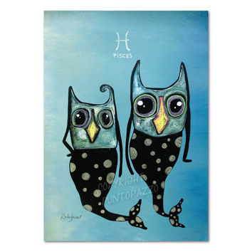 Zodiac sign pisces illustration,owl art on paper - Acrylic paint & watercolors,funny gift for pet lovers,